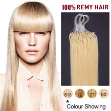"28"" Bleach Blonde (#613) 50S Micro Loop Human Hair Extensions"