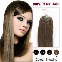 16 inches Light Brown (#6) 100S Micro Loop Human Hair Extensions