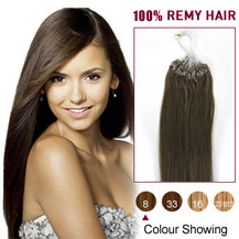 22 inches Ash Brown (#8) 100S Micro Loop Human Hair Extensions