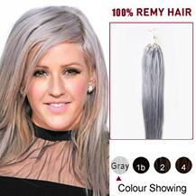 "16"" Gray Micro Loop Human Hair Extensions"