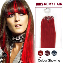 16 inches Red 100S Micro Loop Human Hair Extensions