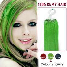 "22"" Green 100S Micro Loop Human Hair Extensions"