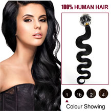 "24"" Jet Black (#1) 100S Wavy Micro Loop Human Hair Extensions"