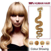16 inches Strawberry Blonde (#27)100S Wavy Micro Loop Human Hair Extensions