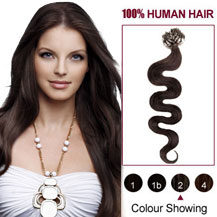 24 inches Dark Brown  (#2) 100S Wavy Micro Loop Human Hair Extensions