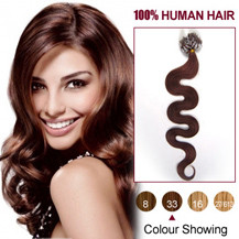 16 inches Dark Auburn (#33) 100S Wavy Micro Loop Human Hair Extensions