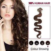 24 inches Medium Brown (#4) 100S Wavy Micro Loop Human Hair Extensions