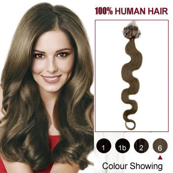 16 inches Light Brown (#6) 50S Wavy Micro Loop Human Hair Extensions