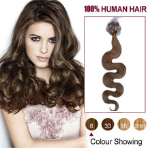 18 inches Ash Brown (#8) 100S Wavy Micro Loop Human Hair Extensions