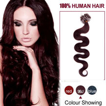 16 inches 99J 100S Wavy Micro Loop Human Hair Extensions