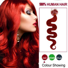 16 inches Red 100S Wavy Micro Loop Human Hair Extensions