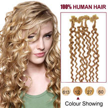 20 inches Golden Brown (#12) 100S Curly Nail Tip Human Hair Extensions