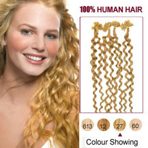 16 inches Strawberry Blonde (#27) 100S Curly Nail Tip Human Hair Extensions