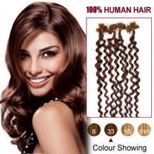 20 inches Dark Auburn (#33) 100S Curly Nail Tip Human Hair Extensions