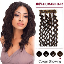 20 inches Medium Brown (#4) 100S Curly Nail Tip Human Hair Extensions