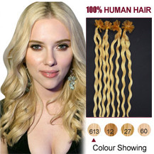 20 inches Bleach Blonde (#613) 100S Curly Nail Tip Human Hair Extensions