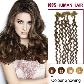 20 inches Ash Brown (#8) 100S Curly Nail Tip Human Hair Extensions