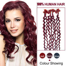 16 inches Bug 100S Curly Nail Tip Human Hair Extensions