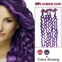 16 inches Lila 100S Curly Nail Tip Human Hair Extensions