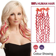 16 inches Pink 100S Curly Nail Tip Human Hair Extensions