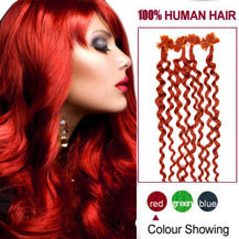 16 inches Red 100S Curly Nail Tip Human Hair Extensions