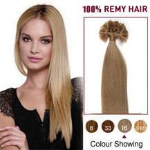 "16"" Golden Blonde (#16) 100S Nail Tip Human Hair Extensions"