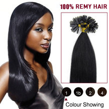 22 inches Jet Black (#1) 100S Nail Tip Human Hair Extensions