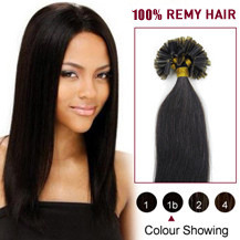 22 inches Natural Black (#1b) 100S Nail Tip Human Hair Extensions