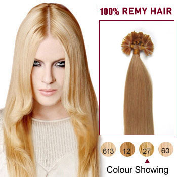24 inches Strawberry Blonde (#27) 50S Nail Tip Human Hair Extensions