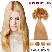 20 inches Strawberry Blonde (#27) 100S Nail Tip Human Hair Extensions