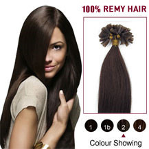 "20"" Dark Brown (#2) 100S Nail Tip Human Hair Extensions"