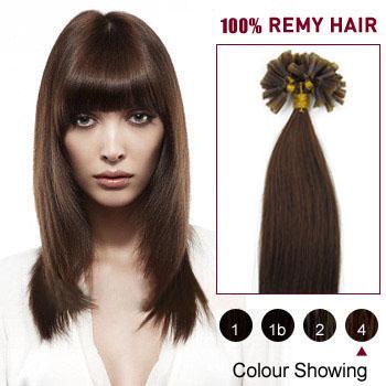 20 inches Medium Brown (#4) 100S Nail Tip Human Hair Extensions