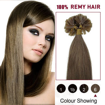 16 inches Light Brown (#6) 100S Nail Tip Human Hair Extensions