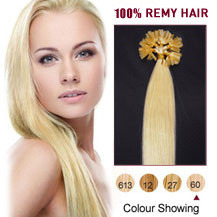 "20"" White Blonde (#60) 50S Nail Tip Human Hair Extensions"