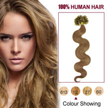 16 inches Golden Brown (#12) 100S Wavy Nail Tip Human Hair Extensions