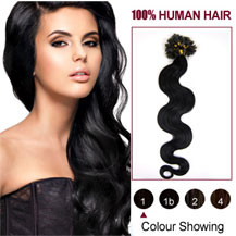 20 inches Jet Black (#1) 100S Wavy Nail Tip Human Hair Extensions