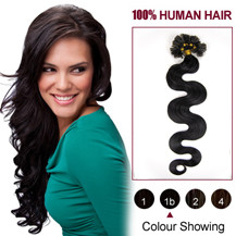 "28"" Natural Black (#1b) 100S Wavy Nail Tip Human Hair Extensions"