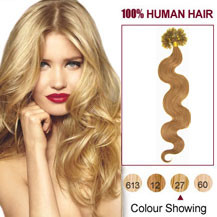 16 inches Strawberry Blonde (#27) 50S Wavy Nail Tip Human Hair Extensions