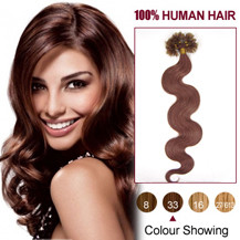 16 inches Dark Auburn (#33) 50S Wavy Nail Tip Human Hair Extensions