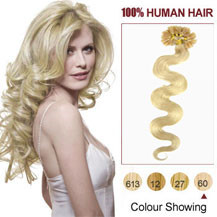 "18"" White Blonde (#60) 100S Wavy Nail Tip Human Hair Extensions"