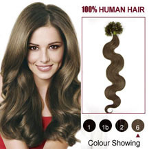18 inches Light Brown (#6) 100S Wavy Nail Tip Human Hair Extensions