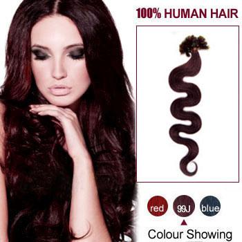 22 inches 99J 100S Wavy Nail Tip Human Hair Extensions