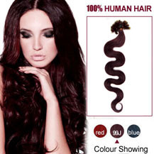 16 inches 99J 100S Wavy Nail Tip Human Hair Extensions