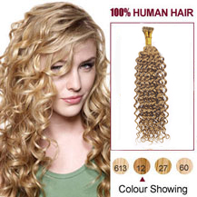 """20"""" Golden Brown(#12) Nano Ring Curly Hair Extensions"""