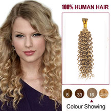 "20"" Golden Blonde(#16) Nano Ring Curly Hair Extensions"