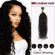 "20"" Natural Black(#1b) Nano Ring Curly Hair Extensions"