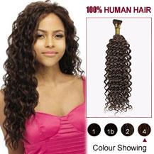"20"" Medium Brown(#4) Curly Nano Ring Hair Extensions"
