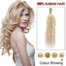 """20"""" White Blonde(#60) Nano Ring Curly Hair Extensions"""