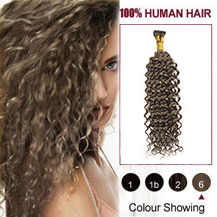 "20"" Light Brown(#6) Curly Nano Ring Hair Extensions"
