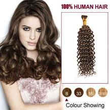 "20"" Ash Brown(#8) Nano Ring Curly Hair Extensions"